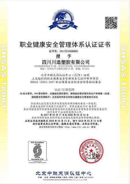 职业健康安全管理体系认证-川造塑胶有限公司